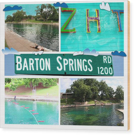 Barton Springs Wood Print
