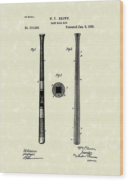 Baseball Bat 1885 Patent Art Wood Print