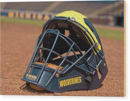 Baseball Catcher Helmet Wood Print