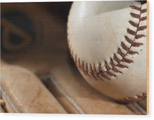 Baseball Wood Print by Felix M Cobos