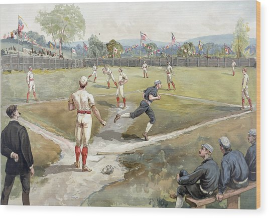 Baseball Game Wood Print