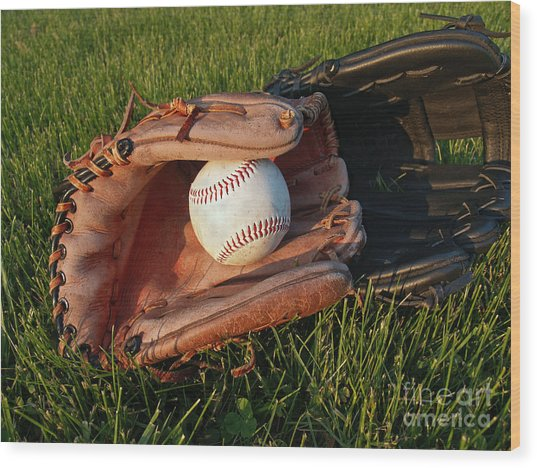 Baseball Gloves After The Game Wood Print