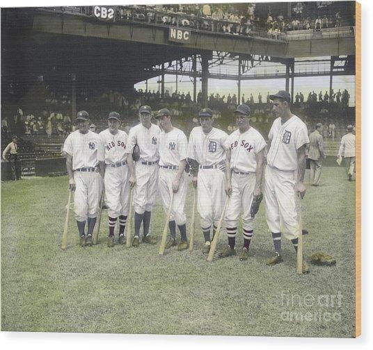 Baseball Greats At Griffith Stadium Wood Print by Susan Bock