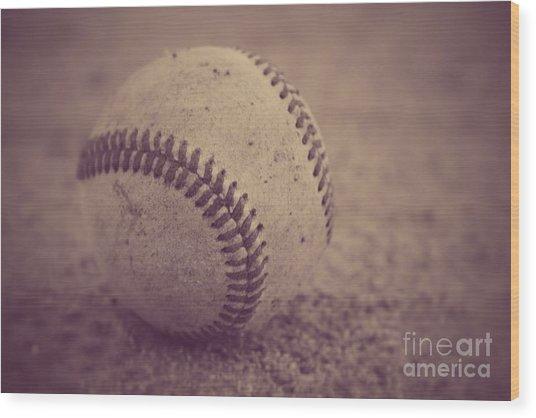 Baseball In Sepia Wood Print