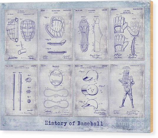 Baseball Patent History Blueprint Wood Print