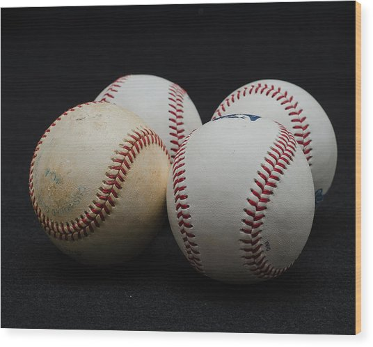 Baseball Quartet Wood Print