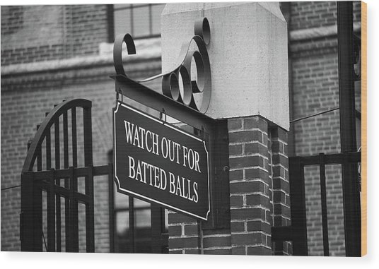 Baseball Warning Bw Wood Print