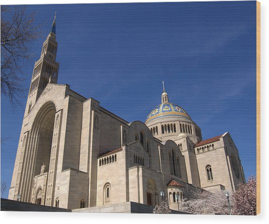 Basilica Of The National Shrine Of The Immaculate Conception Washington Dc Wood Print by Wayne Higgs