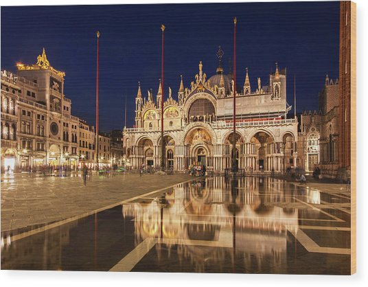 Wood Print featuring the photograph Basilica San Marco Reflections At Night - Venice, Italy by Barry O Carroll