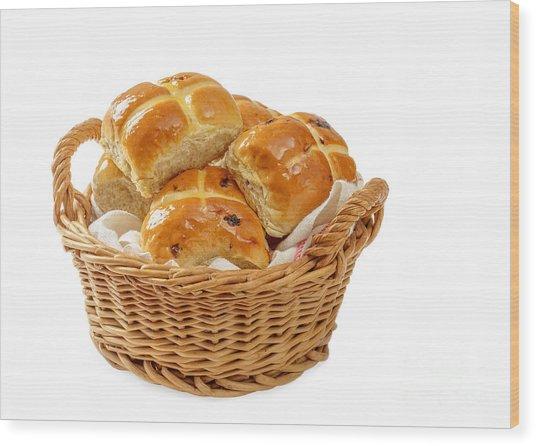 Basket Of Hot Cross Buns Wood Print