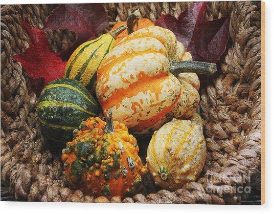 Basket Of Pumpkins Wood Print