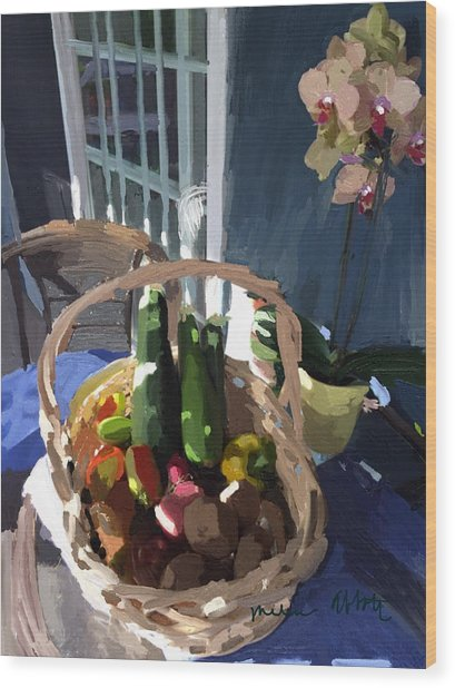 Basket Of Veggies And Orchid Wood Print