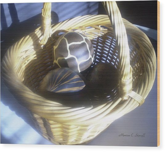 Basket With Brown Patterned Decor In The Sunlight Wood Print