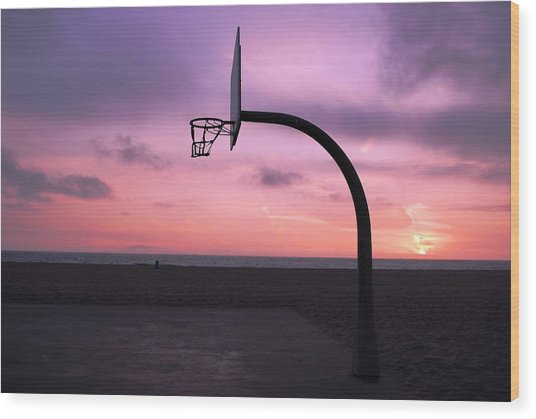 Basketball Court At Sunset Wood Print