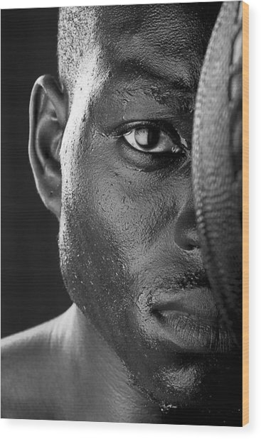 Basketball Player Close Up Portrait Wood Print