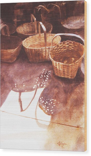 Baskets In The Sun Wood Print
