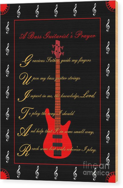 Bass Guitar_2 Wood Print by Joe Greenidge