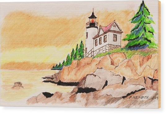 Bass Harbor Head Lighthouse Wood Print by Paul Meinerth