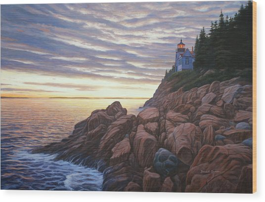 Bass Harbor Light Wood Print by Bruce Dumas
