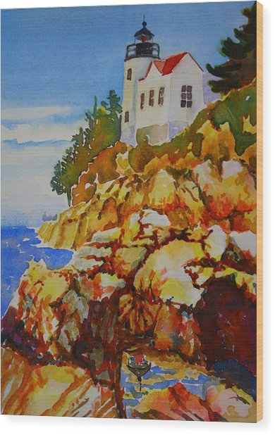 Bass Harbor Light House Wood Print
