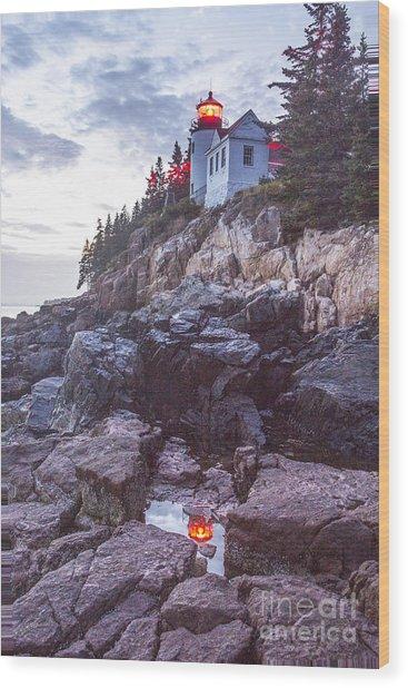 Bass Harbor Light Reflection Wood Print