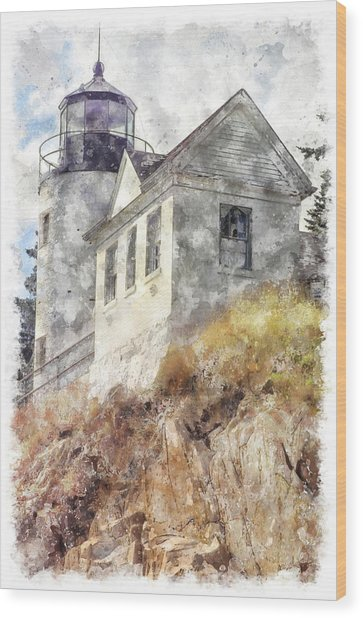 Bass Harbor Light Wc Wood Print