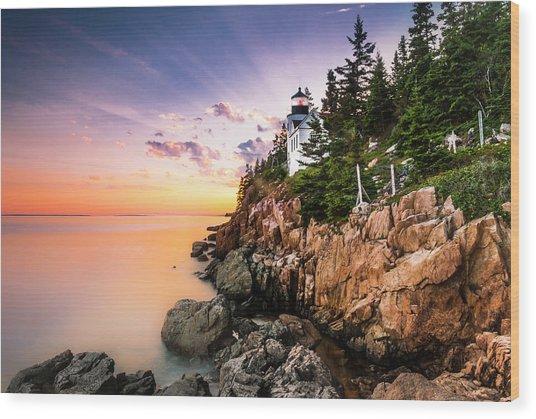 Bass Harbor Lighthouse Sunset Wood Print
