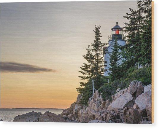 Bass Harbor Lighthouse Susnet  Wood Print