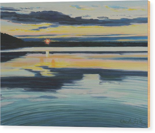 Bass Lake Sunset Wood Print