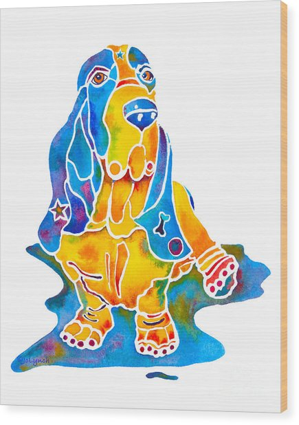 Basset Hound Art Prints Wood Print