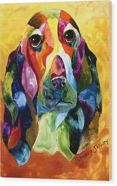 Basset Hound Blues Wood Print