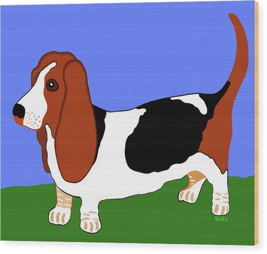 Cartoon Basset Hound In The Yard Wood Print
