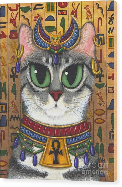 Bast Goddess - Egyptian Bastet Wood Print