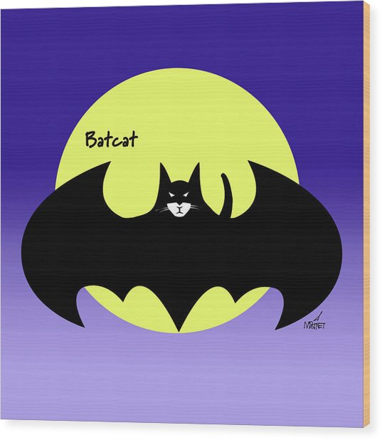 Batcat Wood Print