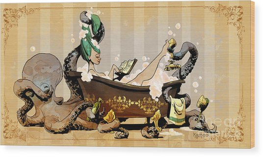 Bath Time With Otto Wood Print by Brian Kesinger
