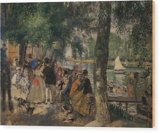 Bathing On The Seine Wood Print by Pierre Auguste Renoir