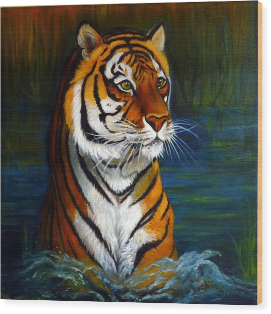 Bathing Tiger Wood Print by Janet Silkoff
