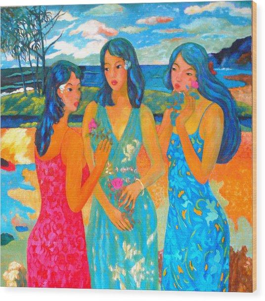 Bathing9 Wood Print by Tung Nguyen Hoang