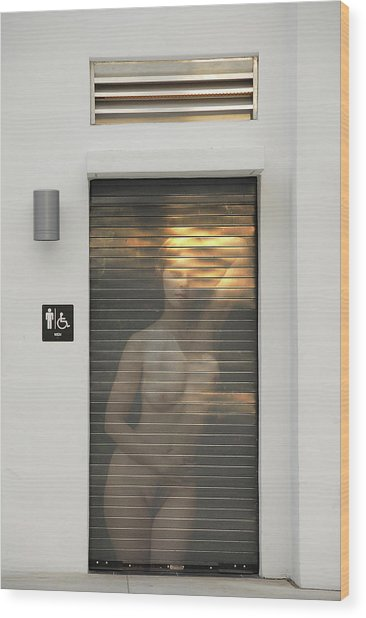 Bathroom Door Nude Wood Print