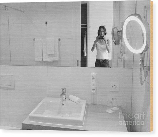 Bathroom Selfie Wood Print