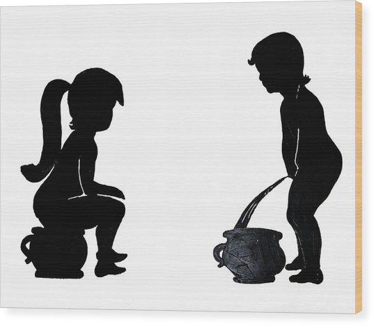Bathroom Silhouettes Wood Print