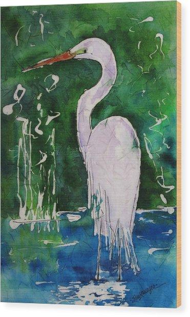 Batik Egret Wood Print