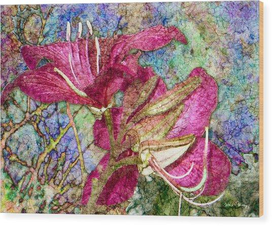 Batik Lilies Wood Print