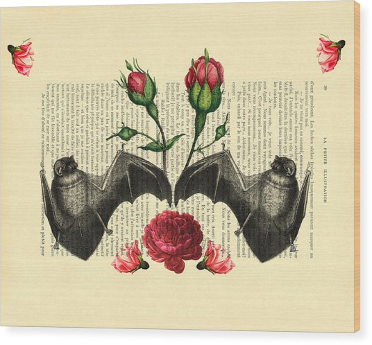 Bats With Angelic Roses Wood Print