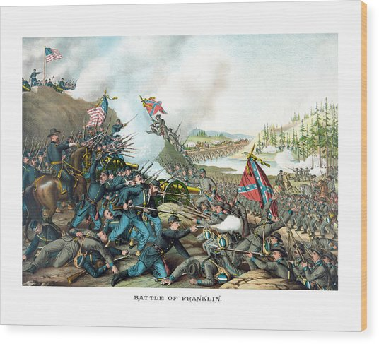 Battle Of Franklin - Civil War Wood Print