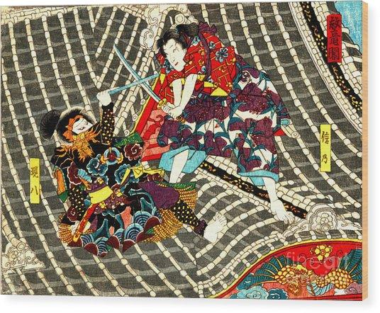 Battle On Horyu Tower 1850 Wood Print