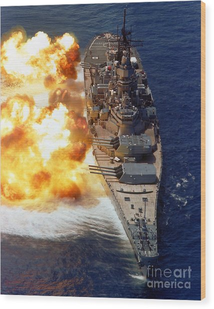 Wood Print featuring the photograph Battleship Uss Iowa Firing Its Mark 7 by Stocktrek Images