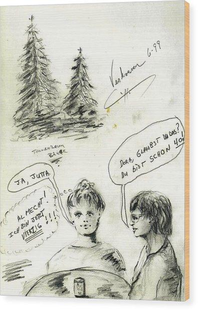 Bavaria Sketch Wood Print by Alfred P  Verhoeven