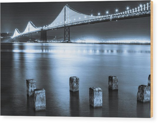 Bay Bridge 1 In Blue Wood Print