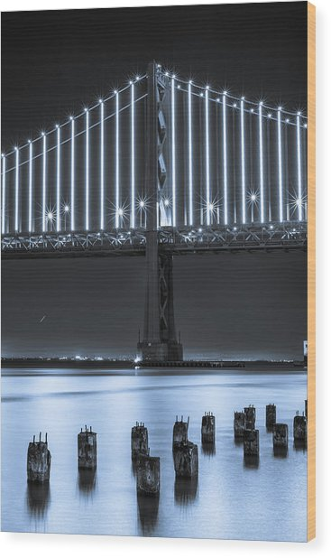 Bay Bridge 2 In Blue Wood Print